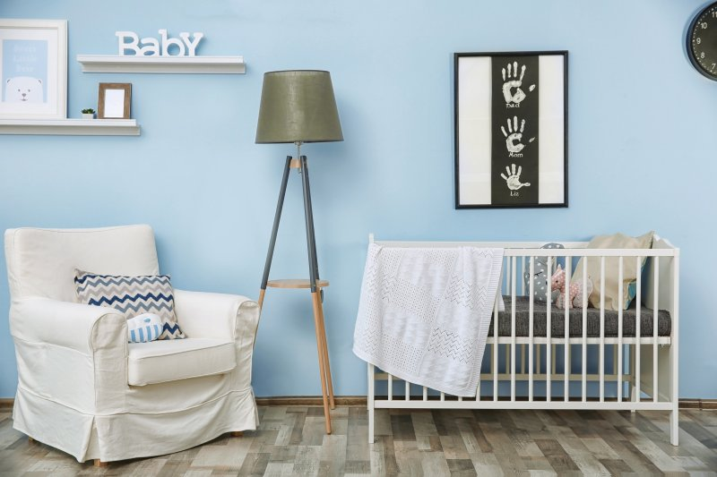 Nursery painted blue