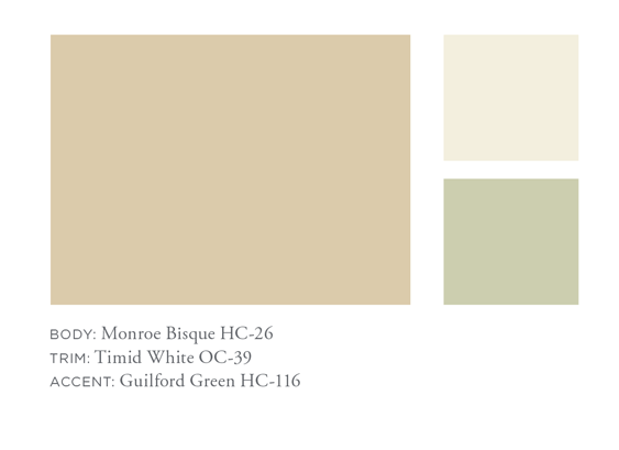 Monroe Bisque, Timid White, Guilford Green