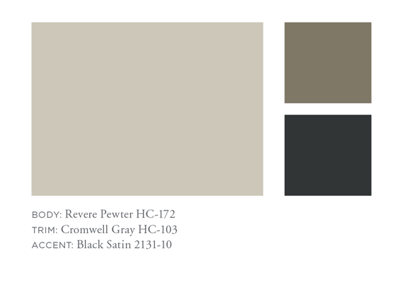 Review Pewter, Cromwell Gray, Black Satin