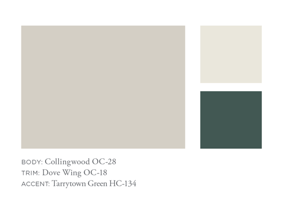 Benjamin Moore Collingwood, Dove Wing, Tarrytown Green