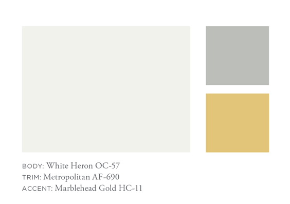 Benjamin Moore White Heron, Metropolitan, Marblehead Gold