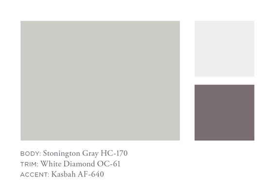 Benjamin Moore Stonington Gray, White Diamond, Kabash