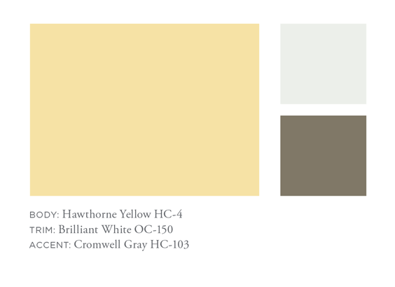 Benjamin Moore Hawthorne Yellow, Brilliant White, Hawthorne Gray