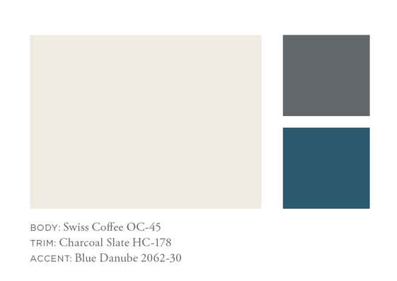 Benjamin Moore Swiss Coffee, Charcoal Slate, Blue Danube