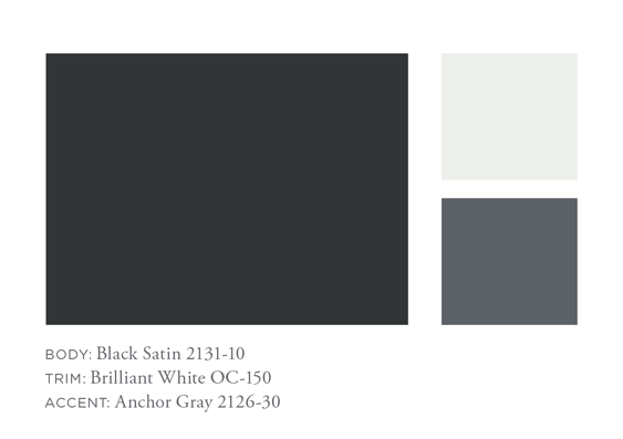 Benjamin Moore Black Satin, Brilliant White, Anchor Gray