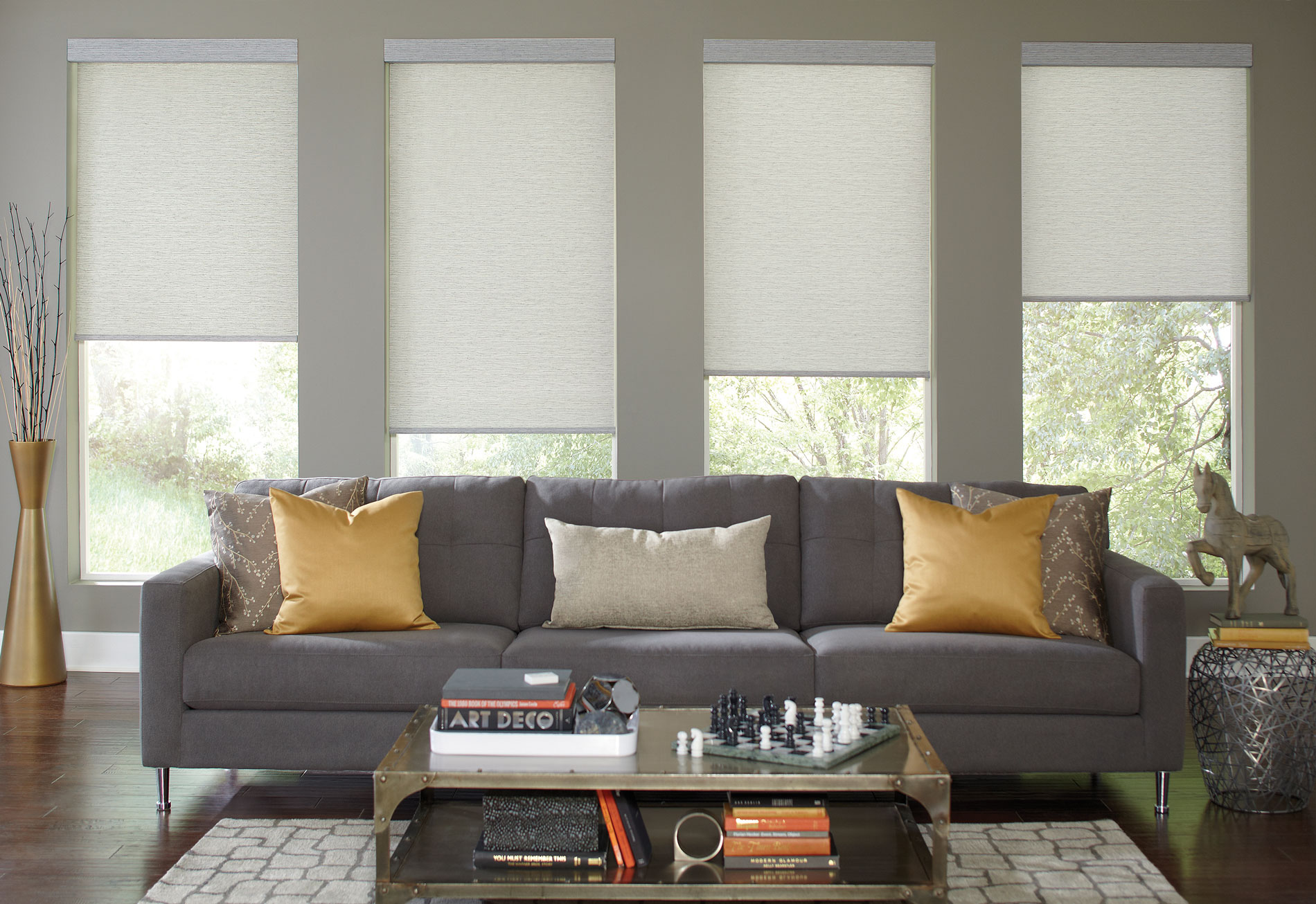roller shade hunter douglas living room yellow accents grey